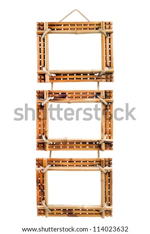 three bamboo photo frames isolated on white background - stock photo