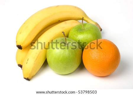 Three bananas, two apples and one orange isolated on white background - stock photo