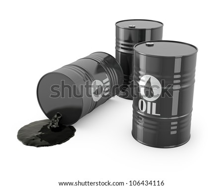 Three barrels and spilled oil, isolated on white background - stock photo
