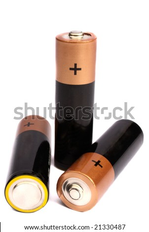 Three batteries on a white background it is isolated - stock photo