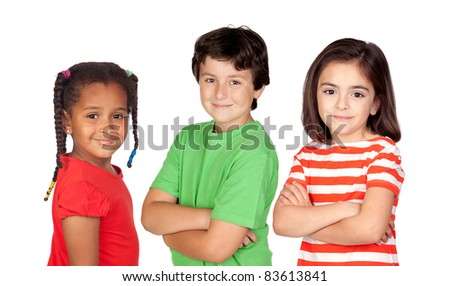 Three beautiful children isolated on a over white background - stock photo
