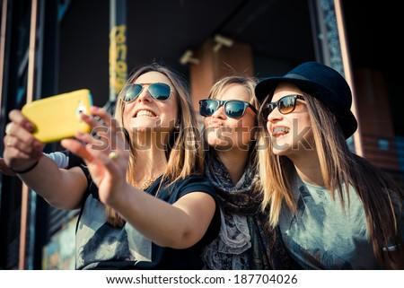 three beautiful friends - stock photo