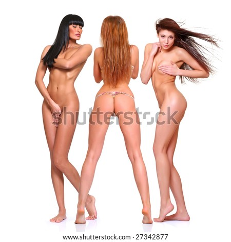 Three beautiful naked women poses covering itself hands, isolated on a white background, please see some of my other parts of a body images: - stock photo