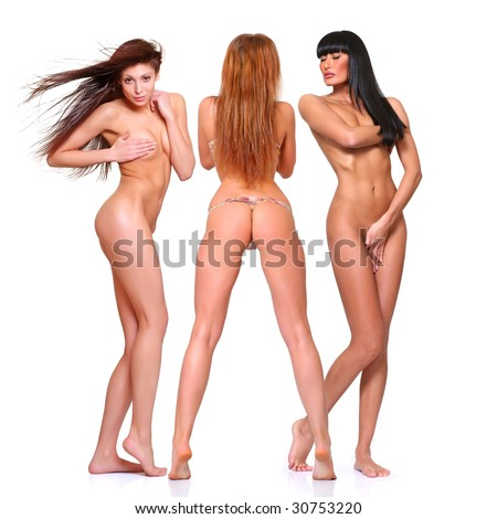 Three beautiful naked women poses covering itself hands, isolated on a white background, please see some of my other parts of a body images - stock photo