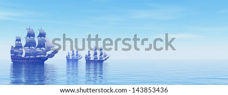 Three beautiful old merchant ships floating on quiet water by morning light - stock photo