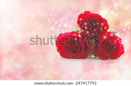Three Beautiful Red Roses with a string of glittering sparkles scattered across them on a misty soft peach pink bokeh Background with plenty of copy space  - stock photo