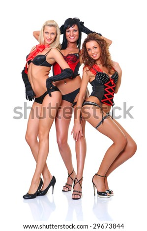 Three beautiful women in full growth pose in front of the chamber, isolated on a white background - stock photo