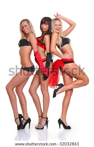 Three beautiful women in full growth pose in front of the chamber, isolated on a white background, please see some of my other parts of a body images - stock photo