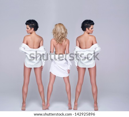 Three beauty woman only in shirt - stock photo