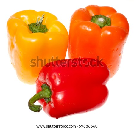 Three bell peppers, Red, Yellow, and Orange - stock photo