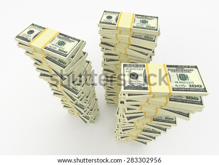 Three big money stacks from dollars usa. Finance concepts - stock photo
