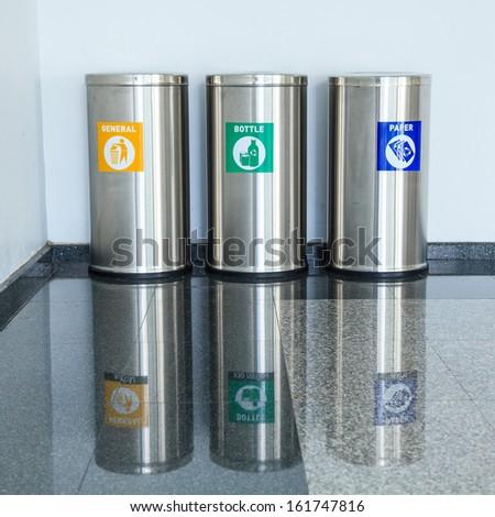 Three bins - stock photo