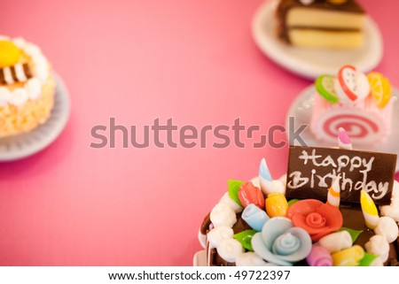 Three birthday cakes. Celebration collection. - stock photo