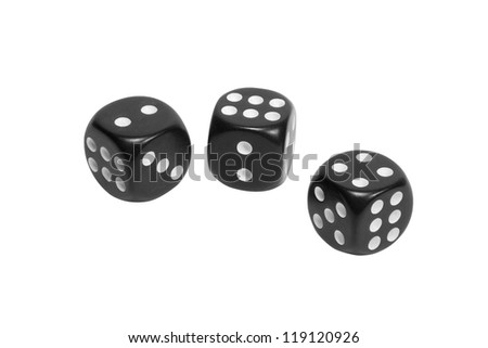 Three black dice isolated on white background - stock photo