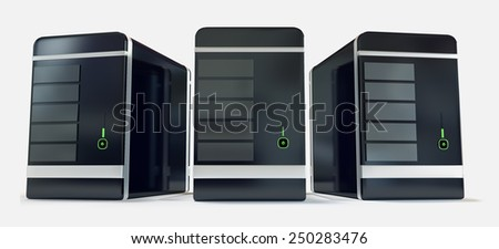 Three black glossy servers front view with green diodes isolated on white background. - stock photo