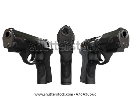 Three black semi automatic pistols - 3D Render