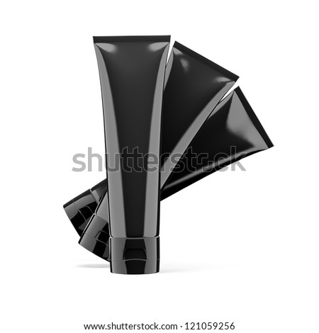 three black tubes isolted on white - stock photo