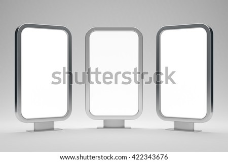 Three blank billboards for text 3d render - stock photo
