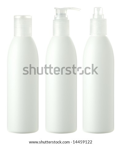 Three blank bottles of shampoo,  conditioner and hair protector products - stock photo