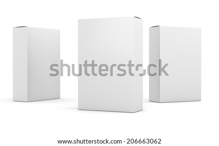 three blank box vertical products template at different angle - stock photo