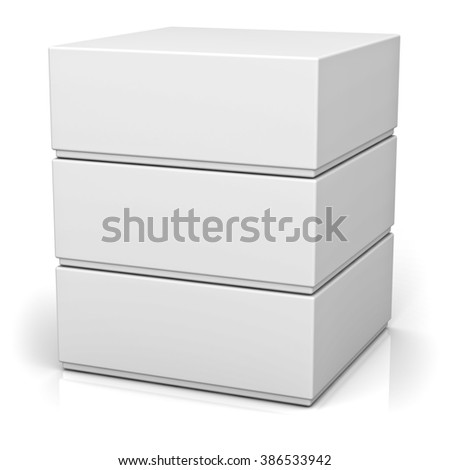 Three blank boxes with lids isolated on white background with reflection - stock photo