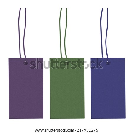 three blank cardboard tags of different colors  isolated on white background