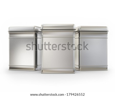 three blank metal boxes with caps isolated on white background - stock photo