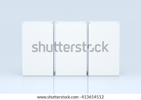 Three blank paper packagings on light background. Mock up, 3D Rendering - stock photo