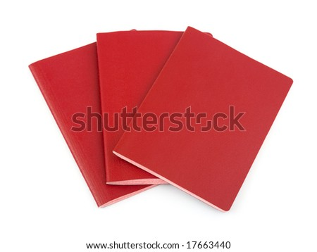 Three blank passports isolated on white background - stock photo