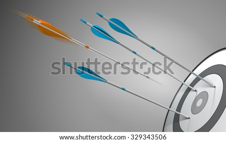 Three blue arrows hitting a target plus an orange arrow hitting the center, 3D concept illustration of competitive excellence or strategic business. - stock photo