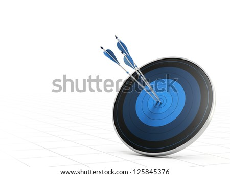 Three blue arrows hitting the center of a blue target or dart, white background with perspective, concept of performance or goal - stock photo