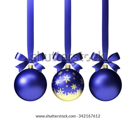 three blue christmas balls with bows, isolated on white - stock photo