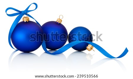 Three Blue Christmas balls with ribbon bow Isolated on white background - stock photo