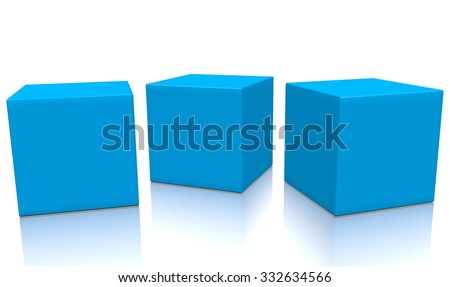 Three blue 3d blank concept boxes next to each other, with reflection, isolated on white background. Rendered illustration. - stock photo