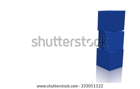 Three blue 3d blank concept boxes on top of each other, isolated on white background. Rendered illustration. - stock photo