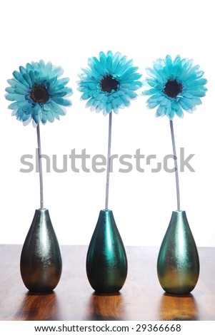 Three blue flowers in vases on a white background - stock photo