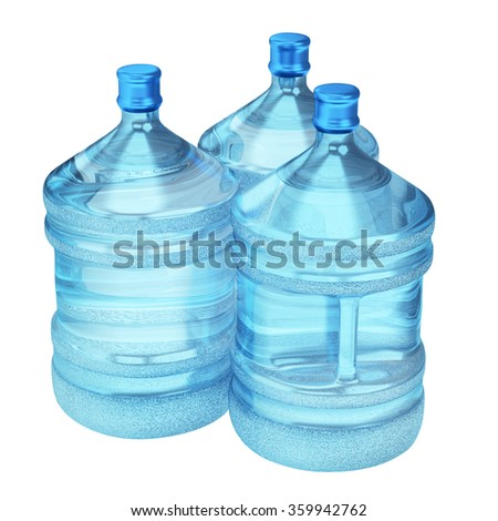Three blue transparent plastic bottles of water isolated on white background - stock photo