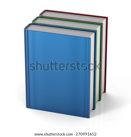 Three books 3 blank cover standing textbook workbook cookbook template. School college learning information content icon concept. 3d render isolated on white background - stock photo