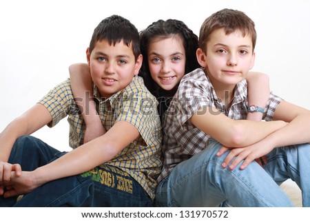 three bosom friends having fun together - stock photo