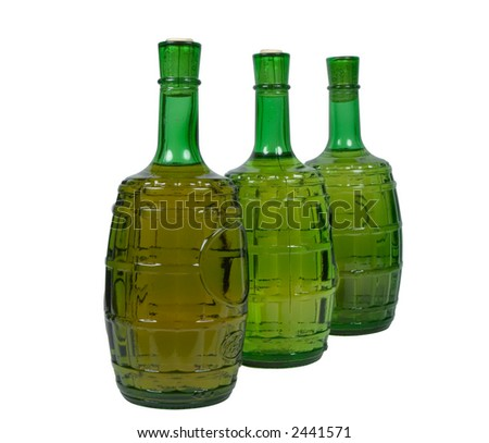 Three bottles of white wine, isolated on white, clipping path included