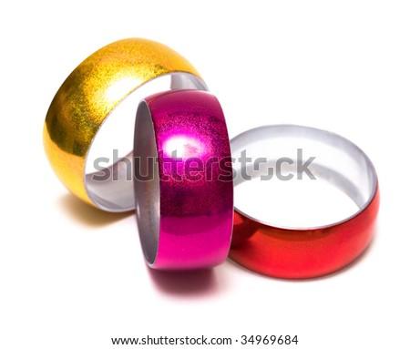 Three bracelets isolated on white background - stock photo