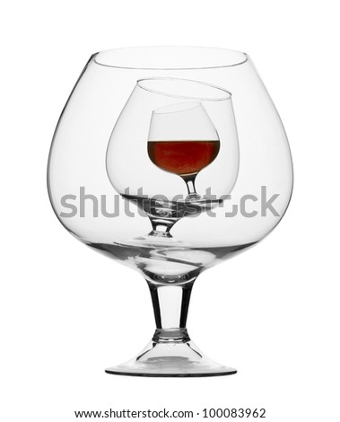 three brandy glasses isolated on white background