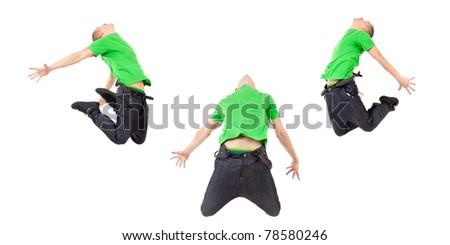 Three breakdancers showing their skilsl, studio shut - stock photo