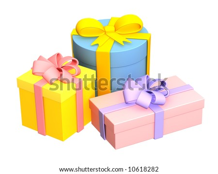 Three bright boxes with the gifts, fastened by tapes - stock photo