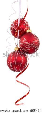 Three bright red Christmas tree balls with curly ribbons isolated on the white background - stock photo