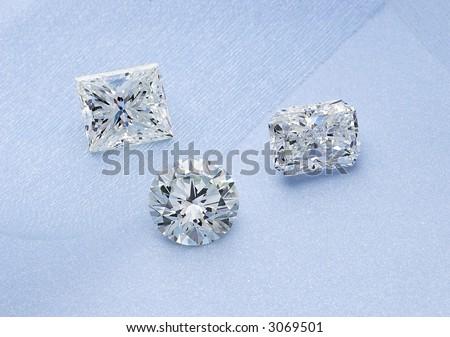 Three brilliant diamonds - stock photo