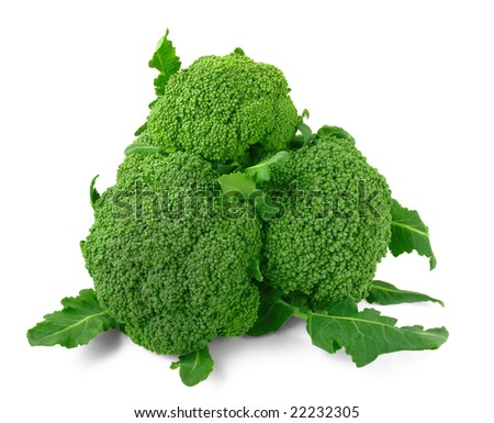 three broccoli heads with leaves on the white with light shadow - stock photo