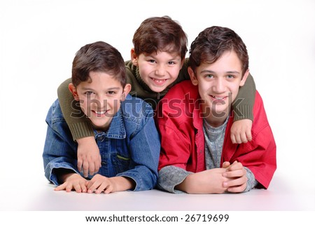 three brothers in the embrace of a white background
