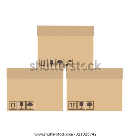 Three, brown, cardboard boxes with symbols symbols keep dry, fragile, no sun, sign up raster - stock photo