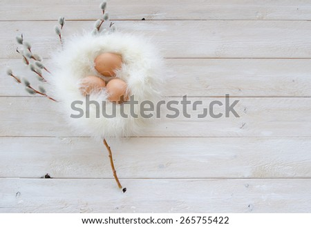 Three brown eggs in a nest made of feathers with sprigs of pussy willows on a painted white rustic wood background - stock photo